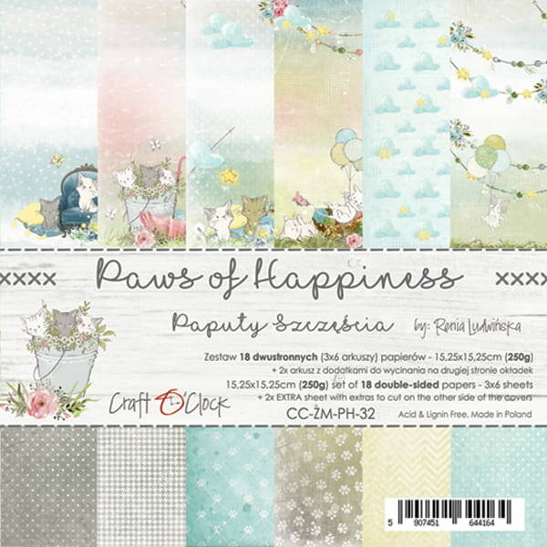 Craft O Clock, Paperpad, Paws of Happiness , 15,25 x 15,25 cm