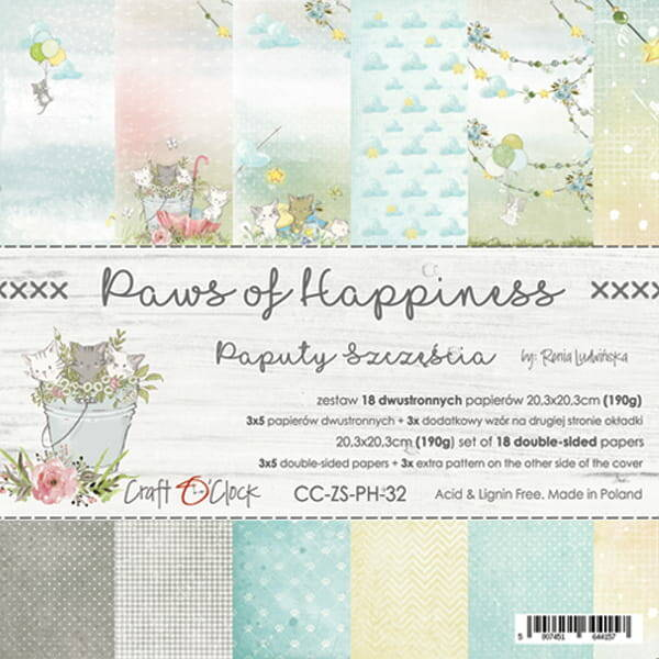 Craft O Clock, Paperpad, Paws of Happiness , 20,3 x 20,3 cm
