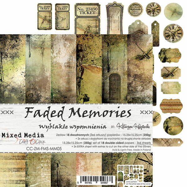 Craft O Clock, Paperpad, Faded Memories , 15,25 x 15,25 cm