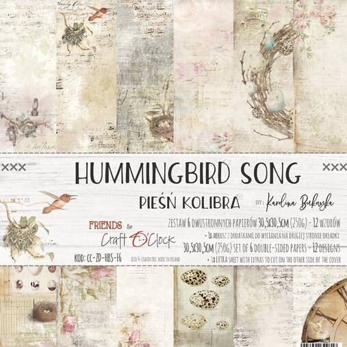 Craft O Clock, Paperpad, Hummingbird Song , 30,5 x 30,5 cm