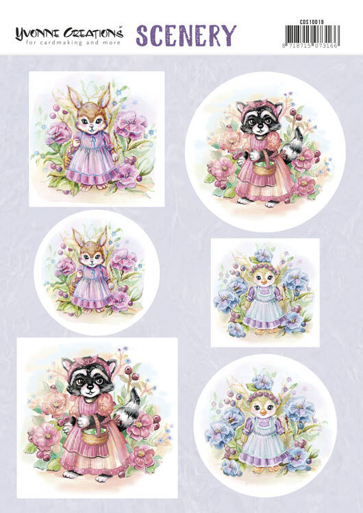 Yvonne Creations, Push Out Scenery, Lovely Animals - CDS10019