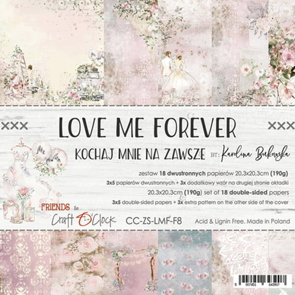 Craft O Clock, Paperpad, Love Me Forever , 20,3 x 20,3 cm