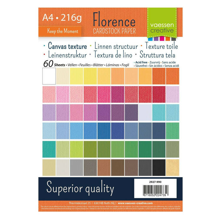 Florence, Cardstock, Linnen, A4, Multipack - 2927-990
