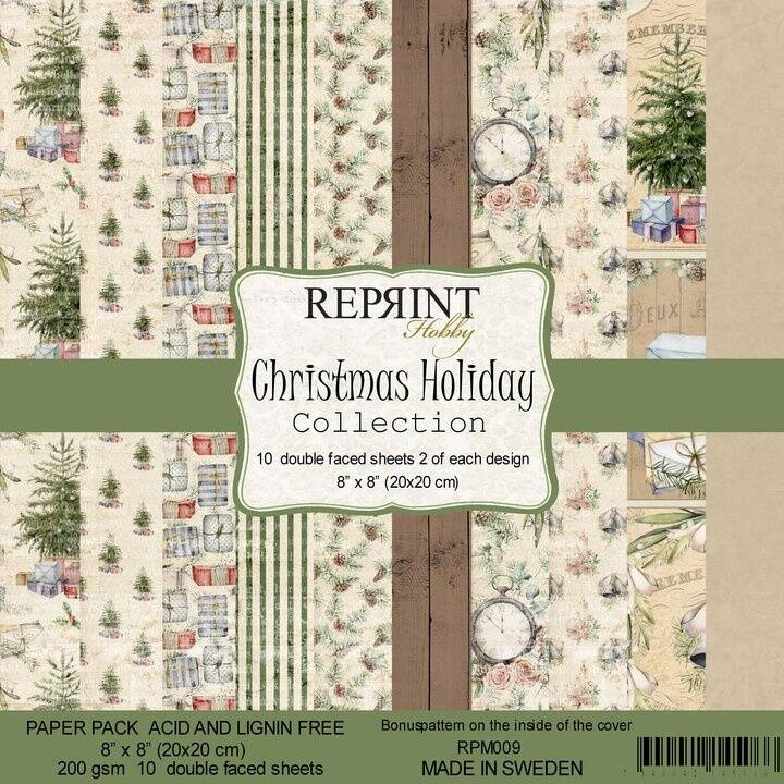 Reprint, Paperpad, Christmas Holiday Collection , 8x8 inch - RPM009