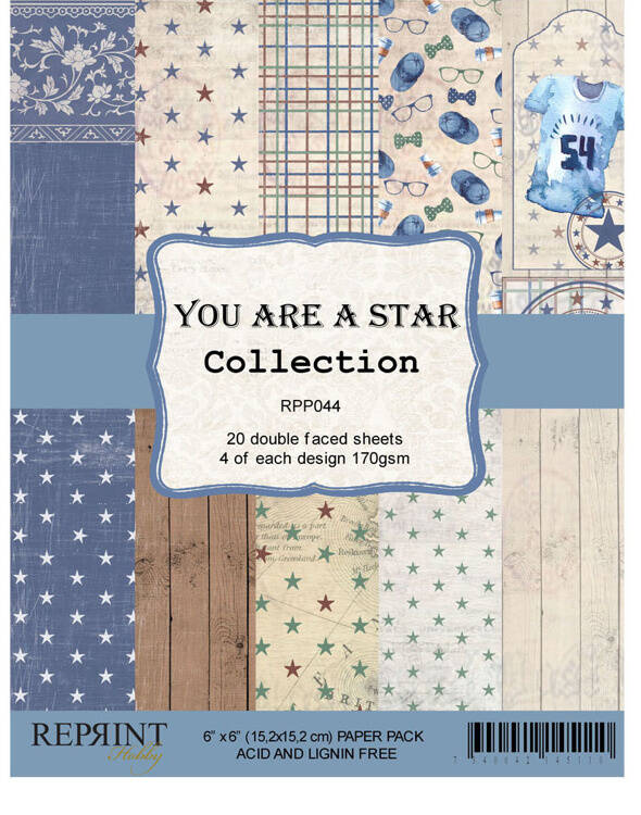 Reprint, Paperpad, You Are A Star Collection, 6x6 inch - RPP044