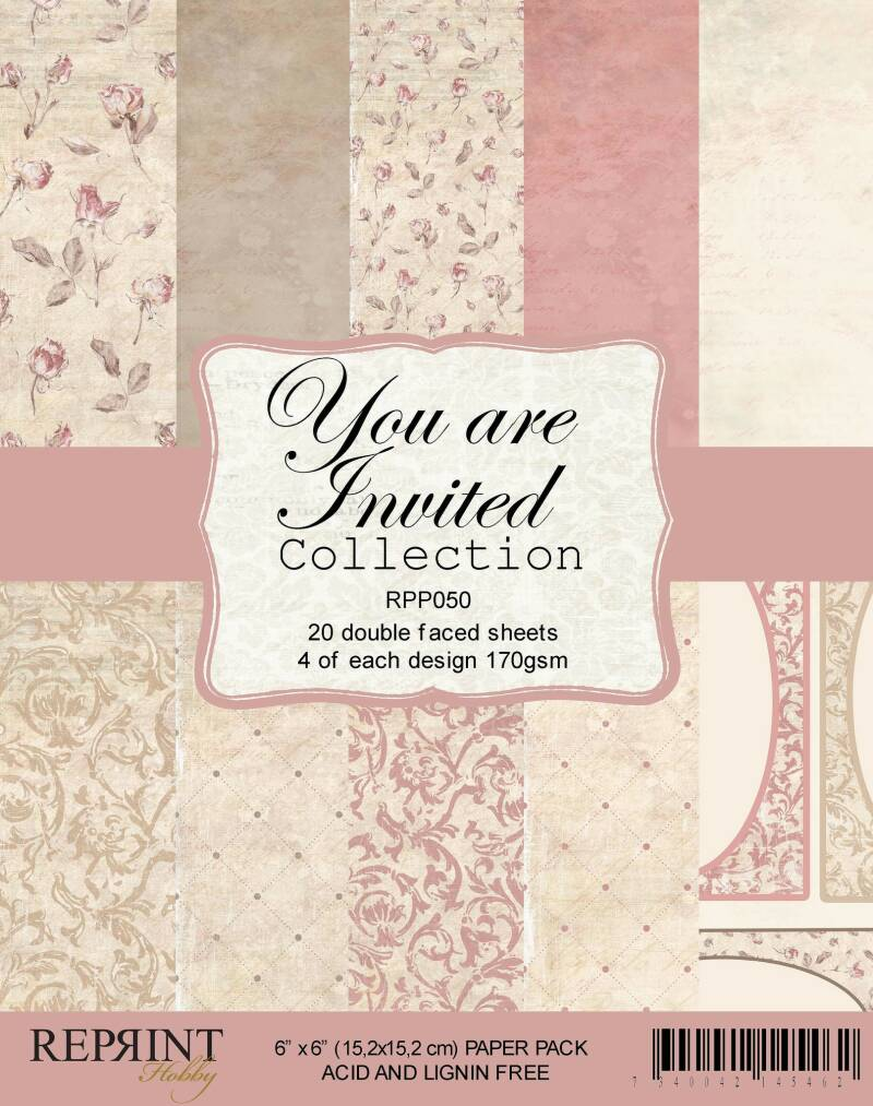 Reprint, Paperpad, You Are Invited Collection, 6x6 inch - RPP050
