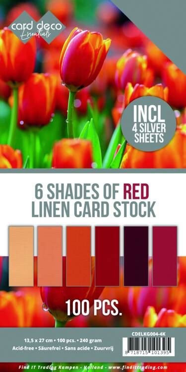 Card Deco , Linnenkarton, 6 Shades of Red Linen Card Stock, 4K - CDELKG004-4K