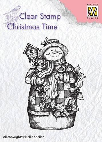 Nellie Snellen, Clear Stamp, Christmas Time, Snowman with Birdhouse - CT025