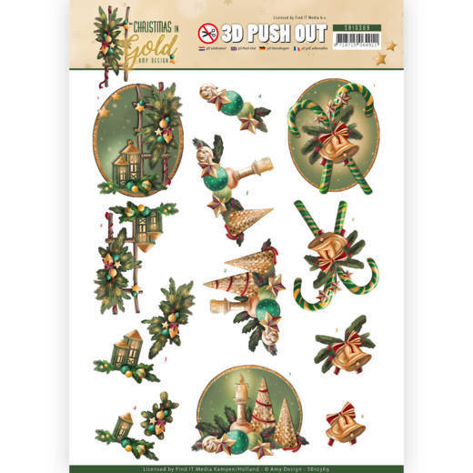 Amy Design, Uitdrukvel, Christmas in Gold, Lanterns in Gold - SB10369