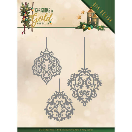 Amy Design, Snijmal, Christmas in Gold, Golden ornaments - ADD10184
