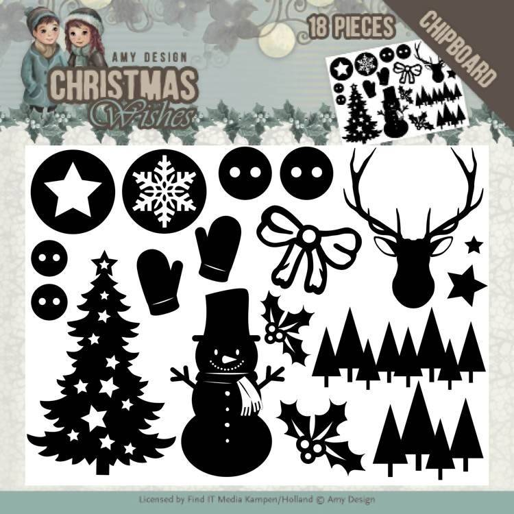 Amy Design, Chipboard, Christmas Wishes - ADCB1003