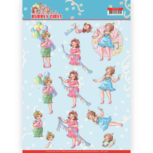 Yvonne Creations, 3D Knipvel, Bubbly Girls Party, Party Time - CD11478