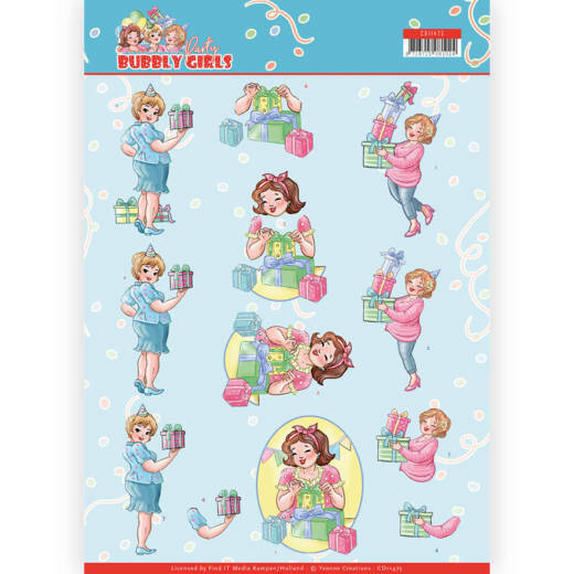 Yvonne Creations, 3D Knipvel, Bubbly Girls Party, Decorating - CD11475