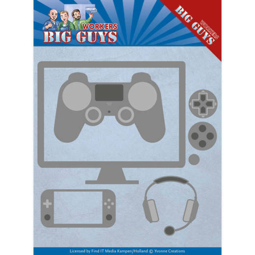 Yvonne Creations, Snijmal , Big Guys, It's Game Time - YCD10205