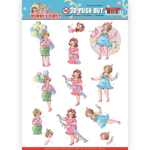 Yvonne Creations, Uitdrukvel , Bubbly Girls Party, Party Time - SB10441