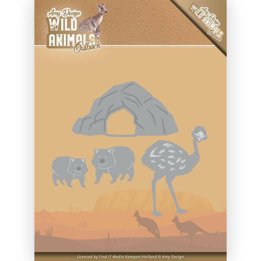 Amy Design, Snijmal, Wild Animals Outback , Emu and Wombat - ADD10207
