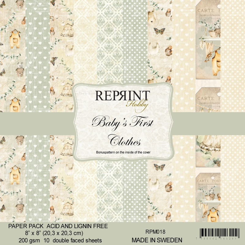Reprint, Paperpad, Baby's First Clothes Collection , 8x8 inch - RPM018