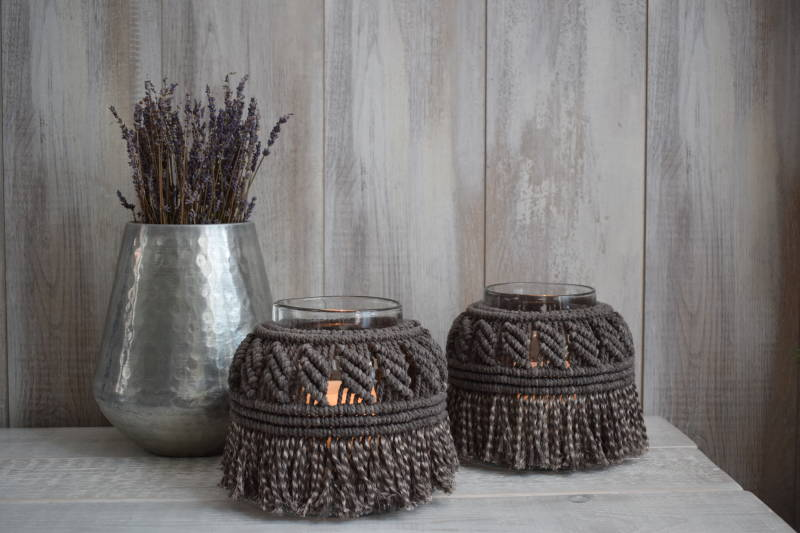 Macramé Windlicht - Smokey Grey