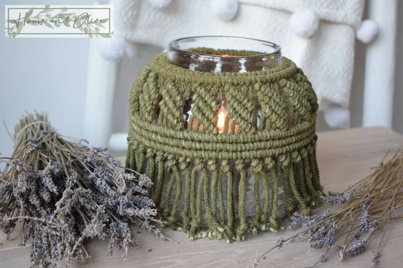 Macramé Windlicht - Deep Olive Green