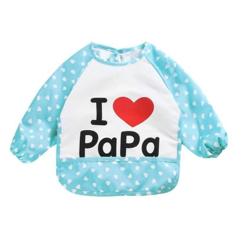 Mouwslab I Love Papa blauw