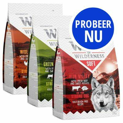 "NIEUW!! Wolf of Wilderness probeerpakket ""Soft & Strong"" (3x1kilo)"