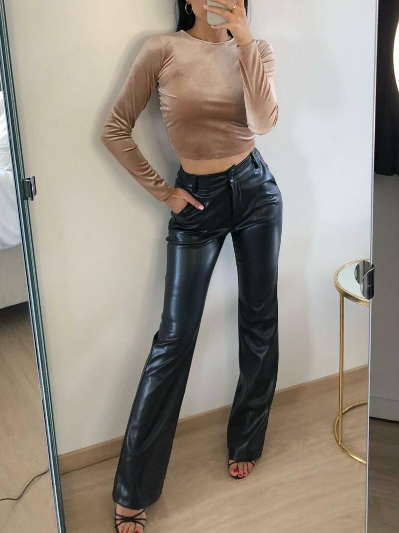 leatherlook flair pants