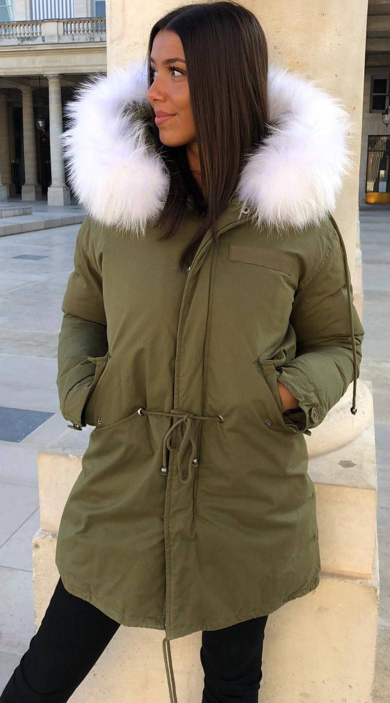 parka real fur green