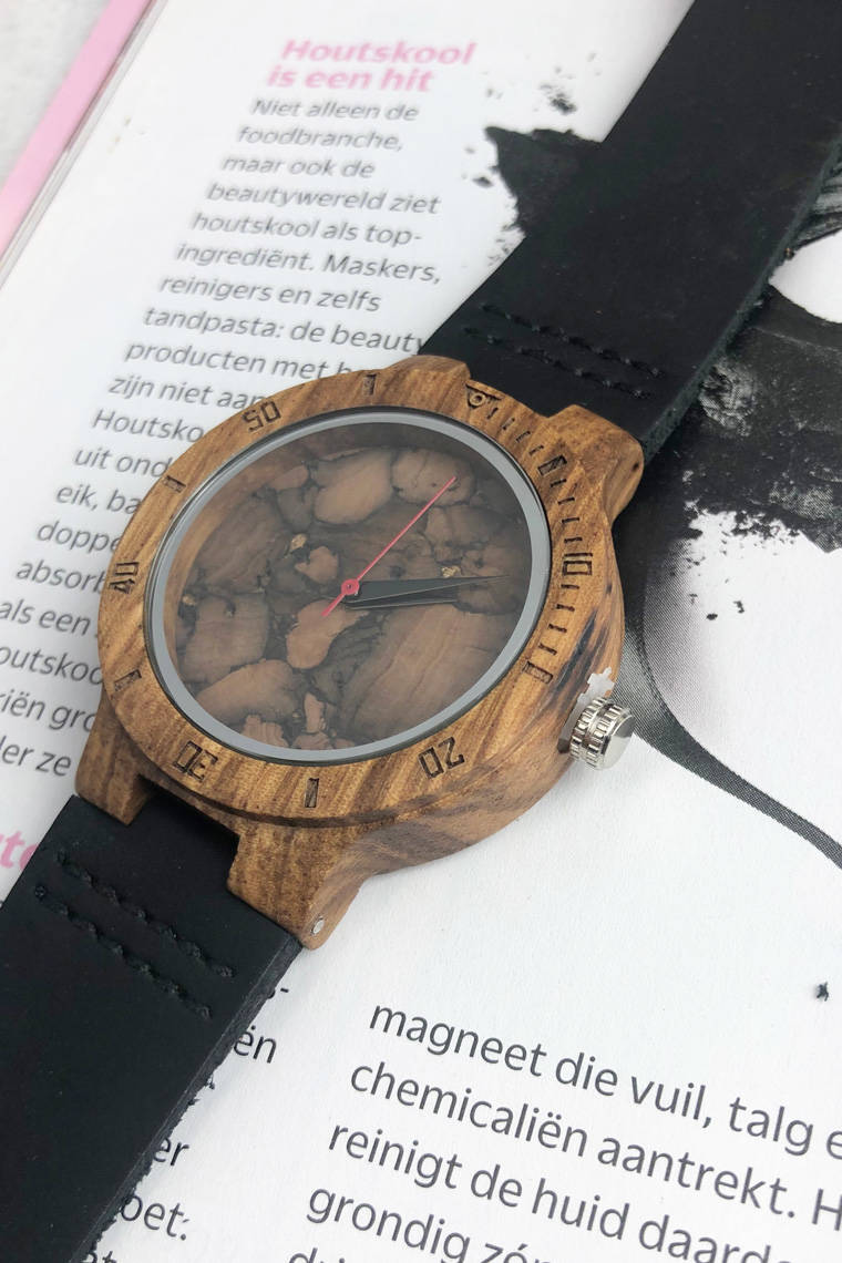 leather & wood horloge