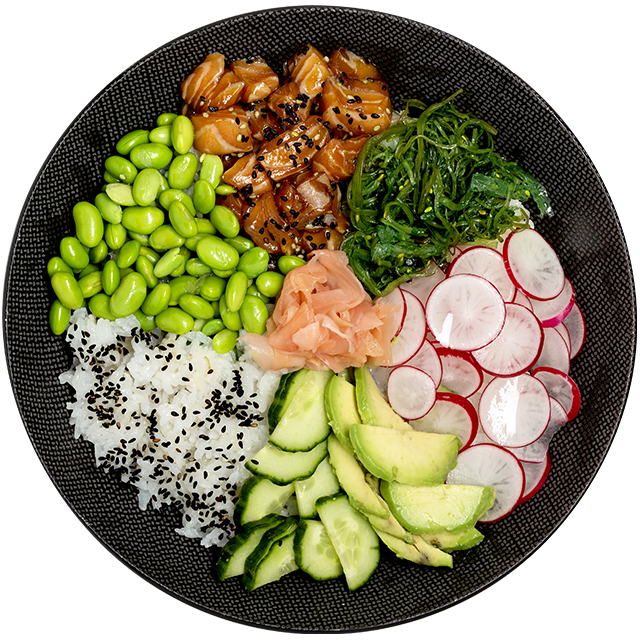 Poké bowl gemarineerde zalm