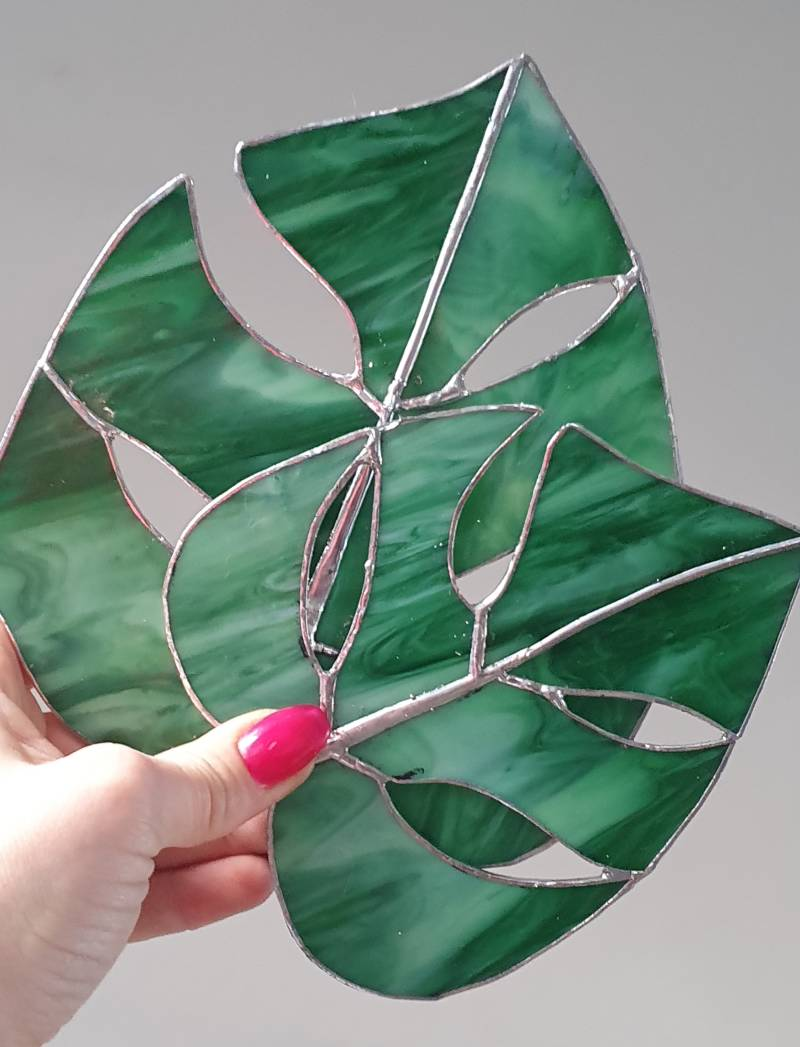 Monstera blad wit-groen