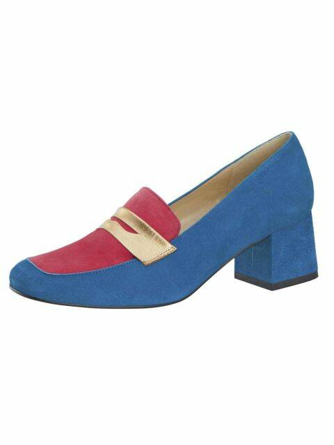 SUEDE LEATHER PUMPS, BLUE-PINK