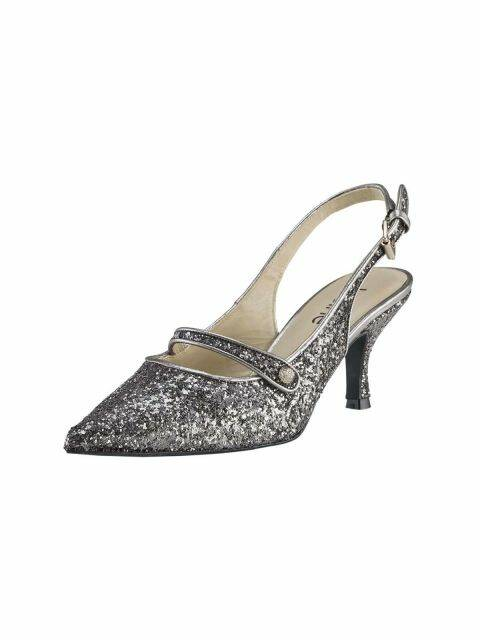SLINGBACK PUMPS, ANTHRACITE-SILVER BY H ****