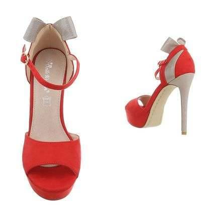 Red and grey hich heels