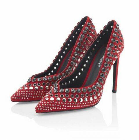 PUMPS W. RHINESTONES, RED BY JEFFREY CAMPBELL