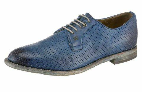 MEN'S LEATHER LACE-UPS, BLUE-USED BY GORDON & BROS.