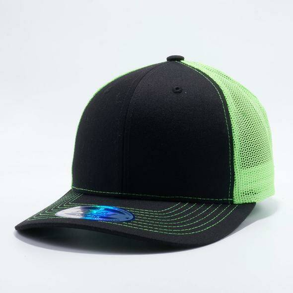 Neon green and black trucker cap