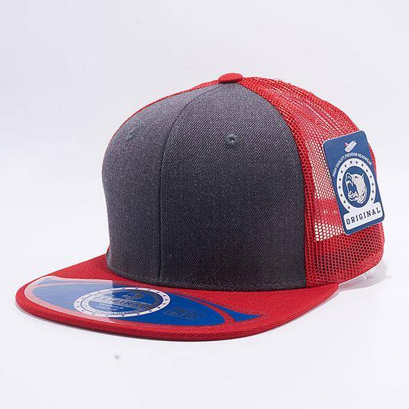 Grey and red trucker cap
