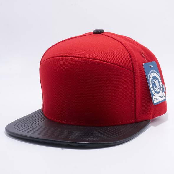 Red and black leather cap