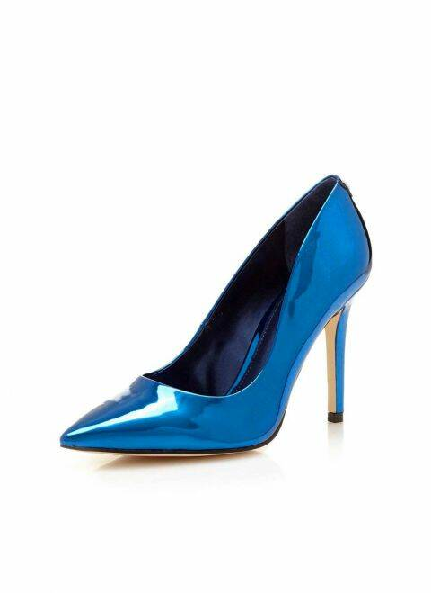 PUMPS, BLAUW METALLIC VAN GUESS