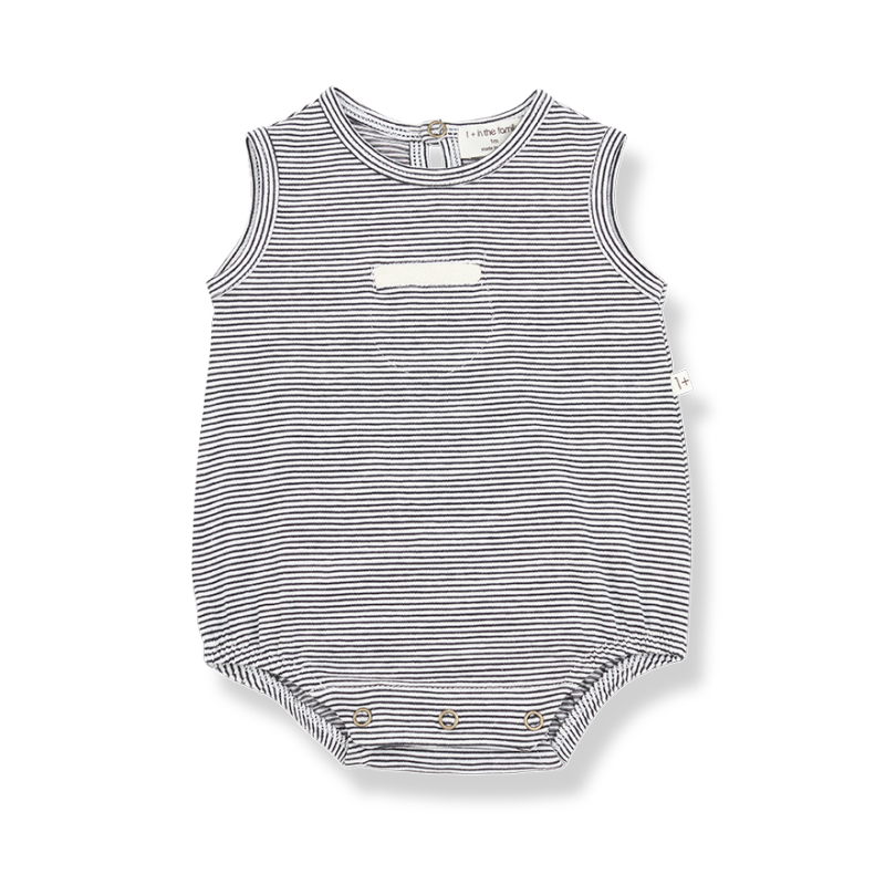 One more in the family romper antraciet stripes Tim