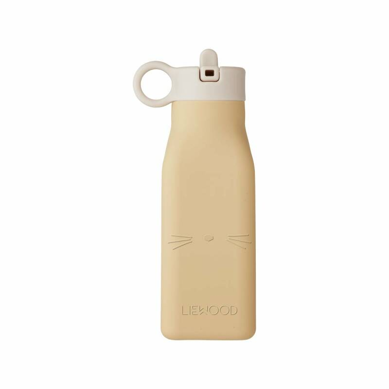 Liewood water bottle silicone - Cat - Wheat Yellow - 350ml