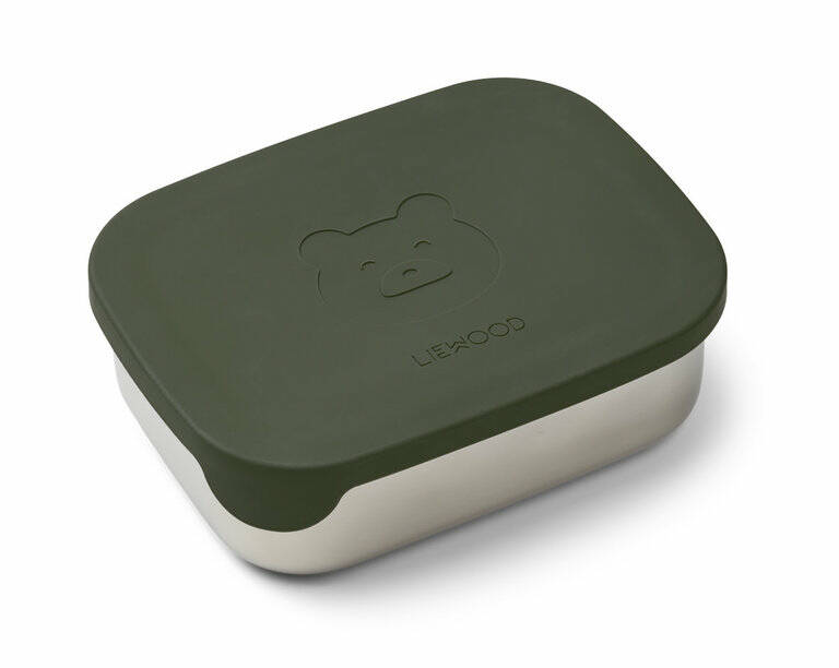 Liewood Lunchbox stainless steel box/ silicone - Bear - Hunter green