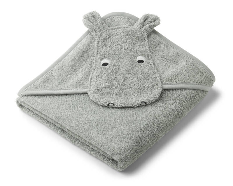 Liewood augusta hooded towel hippo dove blue