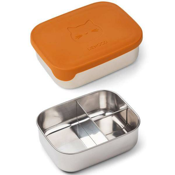 Liewood Lunchbox stainless steel box/ silicone - Cat - Mustard