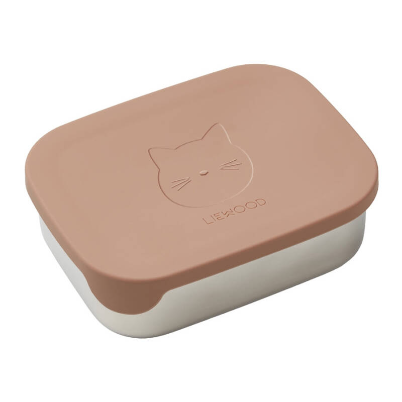 Liewood Lunchbox stainless steel box/ silicone - Cat - Dark rose