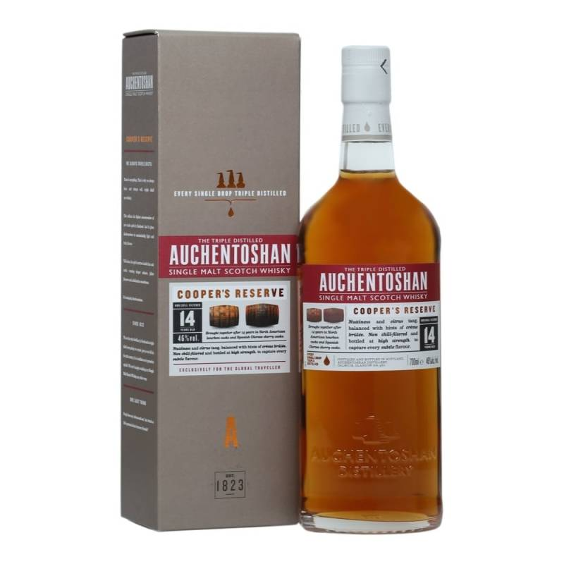 Auchentoshan 14 y, Coopers reserve 0,7L