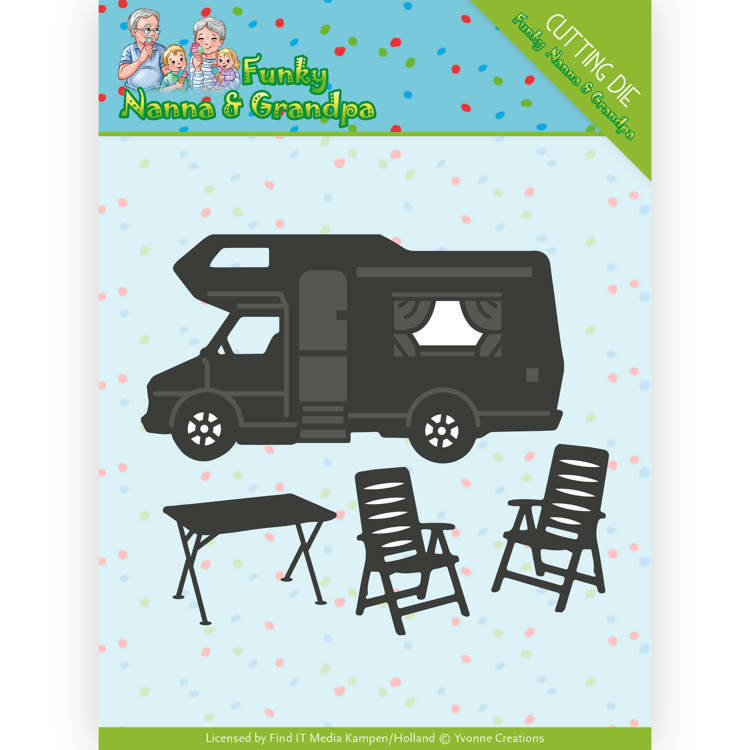 Dies - Yvonne Creations - Funky Nanna's - Camper  Card Deco