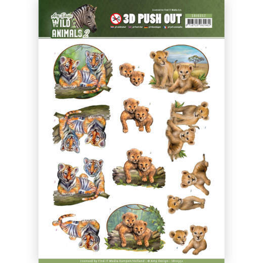 3D Pushout - Amy Design - Wild Animals 2 - Twins  Amy Design