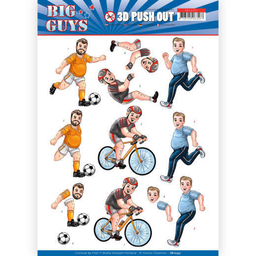 3D pushout - Yvonne Creations- Big Guys - Sports