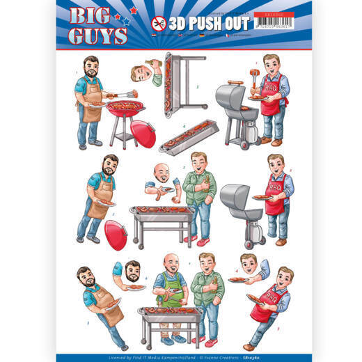 3D pushout - Yvonne Creations- Big Guys - Backyard BBQ  3D div.